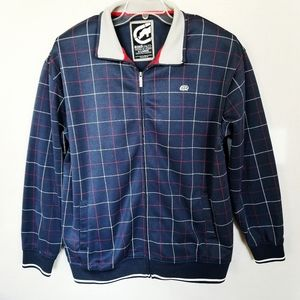 Ecko Unltd Blue Red White Check Full Zip Jacket XL